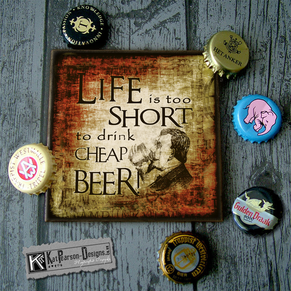 Mock Up - Single coaster with caps - LIFE IS SHORT