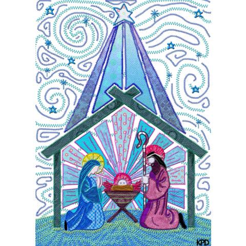 Digital Fabric Light Blue Nativity