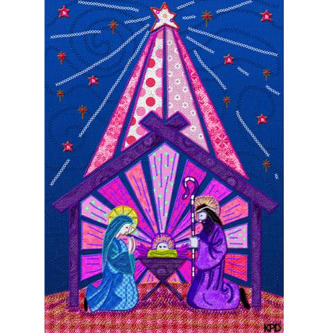 Digital Fabric Purple Nativity