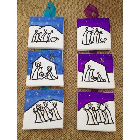 Mini Canvas Nativities - Hanging 3 part
