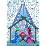 Digital Fabric Light Blue Nativity