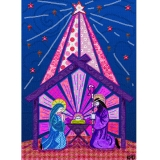 Digital Fabric Purple Nativity