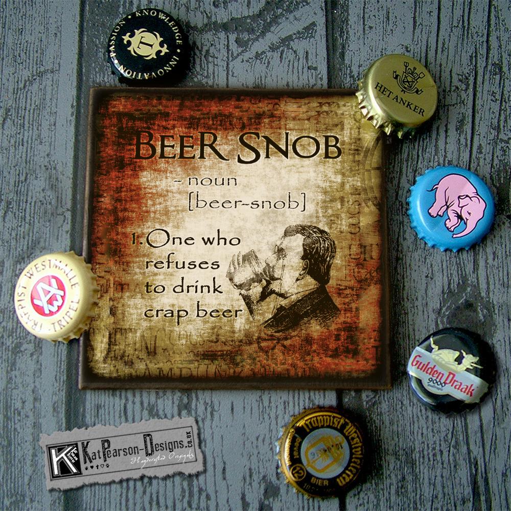 Mock Up - Single coaster with caps - beer snob noun