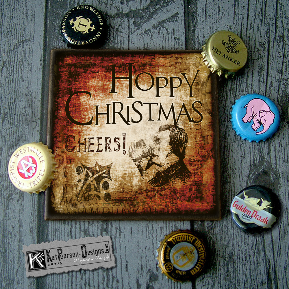 Mock Up - Single coaster with caps - HOPPY CHRISTMAS