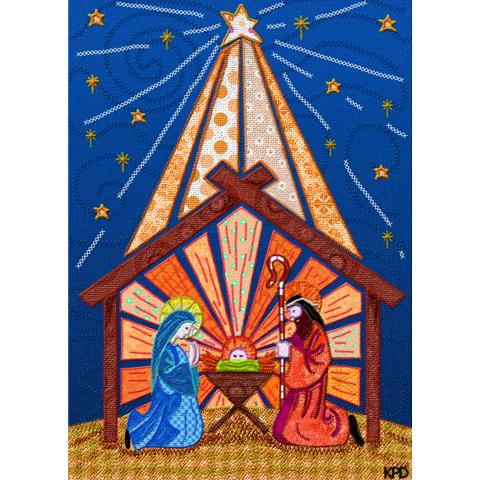 Digital Fabric Orange Nativity